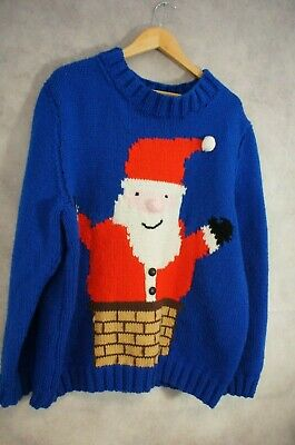 Hand Knitted Christmas Santa Jumper Size XL Loose Baggy fit