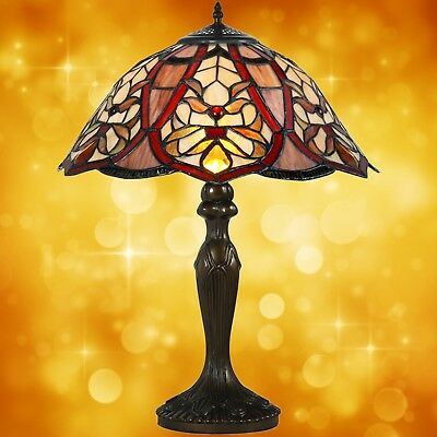 Table Lamp in Tiffany Style Antiques Art Design Bronze Coloured Handmade 5