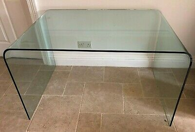 Contemporary Glass Desk / Table made from Bent Clear Tempered Glass