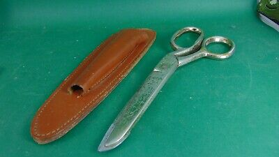 Leather cased pair of scissors Richards of Sheffield