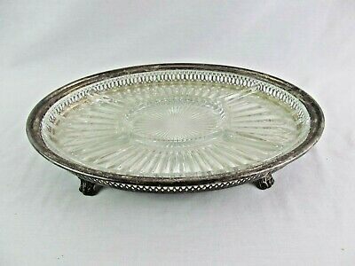 Vintage Leonard Silverplate Relish Condiment Snack Tray Divided Glass