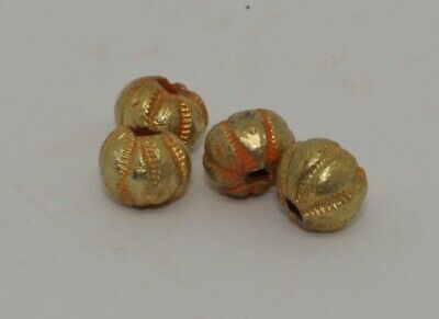 4 X Post Medieval Gold Beads - 0124