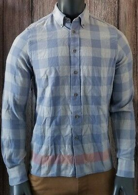 Ben Sherman GINGHAM Checkered Plaid Longsleeve casual shirt Blue Gray Sz Medium