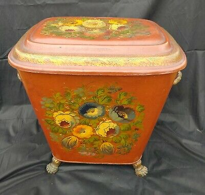 Antique Red 19Th Century Victorian Floral Decorated Tole Coal Hod Scuttle