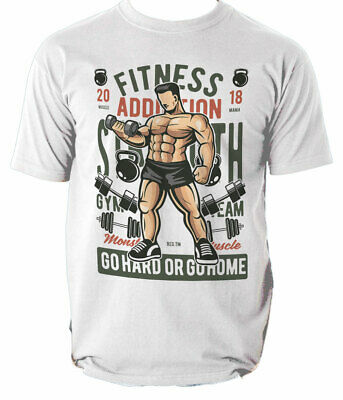 Fitness Addiction mens t shirt Gym Out Train Hard Iron Workout Muscle S-3XL
