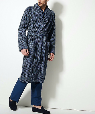 NEW M&S Mens Collection Blue Luxury Supersoft Velour Dressing Gown Perfect Gift
