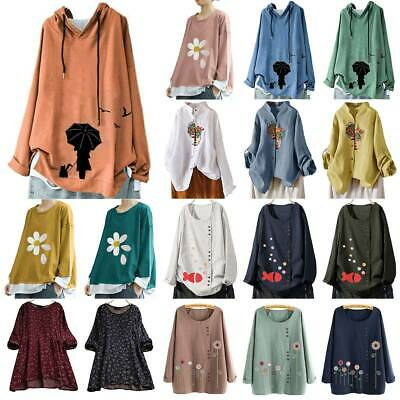 Womens Ladies Oversize Long Sleeve Shirt Blouse Floral Loose Baggy Top Plus Size