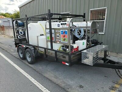 Hot Water Pressure Washer/Soft Wash Trailer Mounted-8gpm,4000psi-Honda GX690