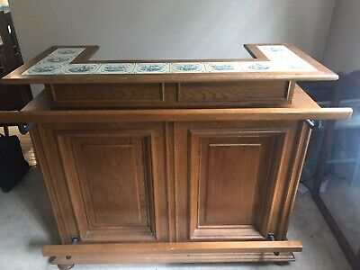 Oak Bar With Delft Inlaid Tiles