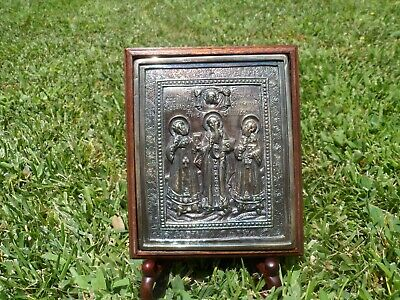 Great Shape Antique Russian Silver Icon With Wooden Frame And Stand 1849