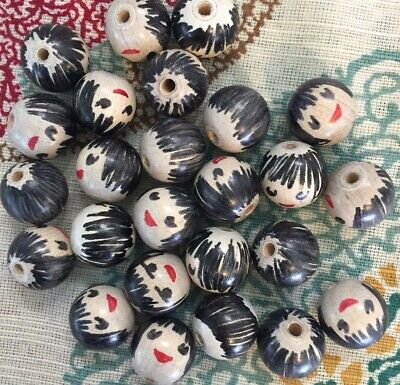 Vintage wood bead doll head painted hair face part craft ornament 71MM unique 25