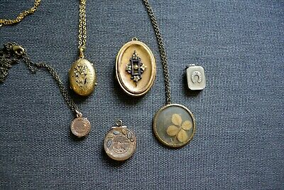 Lot of Victorian Gold-Filled Lockets - Aesthetic Movement Scenes Mourning Floral