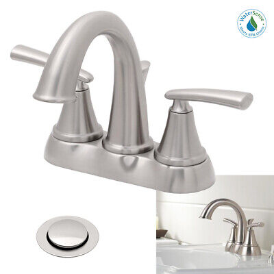 Delta Faucet 2-Handle High Arc Bathroom Sink Bath Faucet, Brushed Stainless