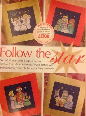 (X4) Follow The Star Nativity Scene Cards Cross Stitch Chart
