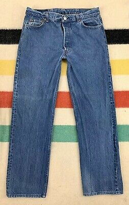 Vintage 80s Levi's 501 Dark Denim Button Fly Jeans Sz 36x31 Made in USA