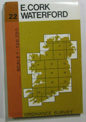1977 Old Vintage OS Ordnance Survey of Ireland Half-Inch Map 22 E Cork Waterford