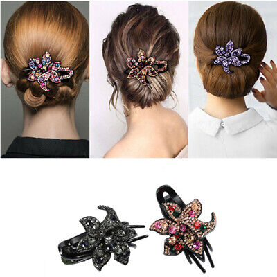 Slide Comb Pins Hairpin Flower Hair Clips Women's Grips Accessories Crystal