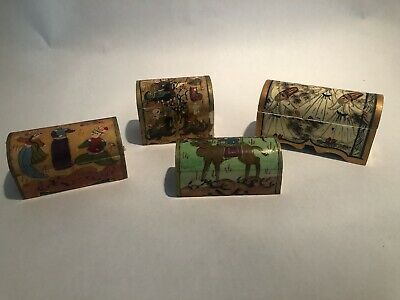 Four Antique Hand Carved / Decorated Middle Eastern Pill / Snuff Boxes
