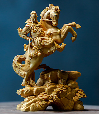 Chinese Box-wood Hand-carved Wu Wealth God Mammon Ride Horse Guan Gong Yu Statue