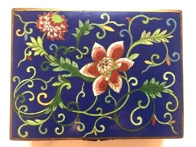 Antique Old Chinese Blue  Floral  Cloisonné  Hinged Card Tobacco Footed Box