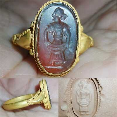 High carat Gold Old Roman King Agate stone intaglio Lovely Ring   # 27