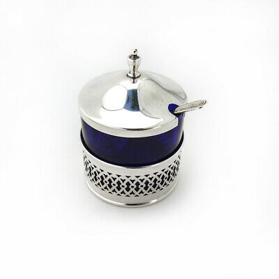 Cutwork Mustard Pot Spoon Set Cobalt Glass Webster Sterling Silver
