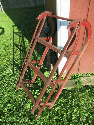 Vintage Antique Victorian Child's Sled Original Red Paint AS IS