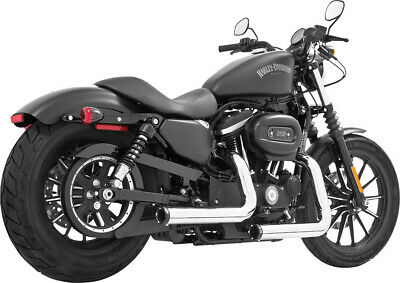 Staggered Duals Softail Chrome With Black Tip Freedom HD00392 Exhaust