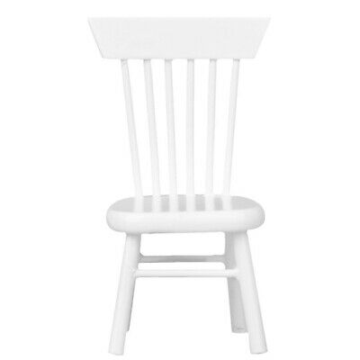 3X(1/12 Dollhouse Miniature Dining Furniture Wooden Chair White W5W3)