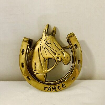 "Brass horse horse Shoe door knocker Gold Tone Vintage Antique ""Fallze"""