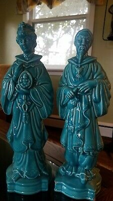 Mid Century Modern Pair Chinese Asian Man Woman Holland Mold Rare Turquoise