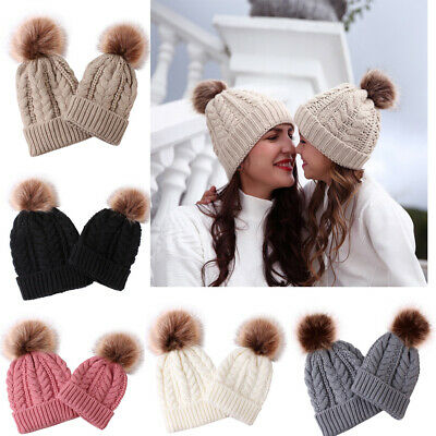 Mom and Baby Knitting Winter Hat Real Fur Family Matching Outfits Five Colors