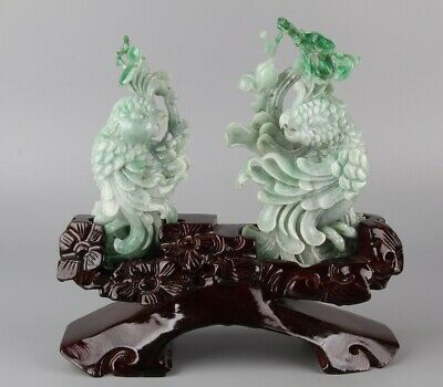 Chinese Exquisite Hand-carved parrot Carving jadeite jade statue 2pcs