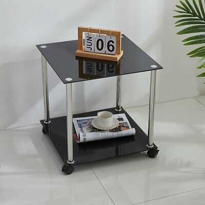 2 Tier Square Black Side End Table With Wheels Glass Home Office Storage Display