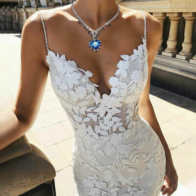 Women Party Lace Mermaid Wedding Bridal Gowns V Neck Trailing Long Maxi Dress