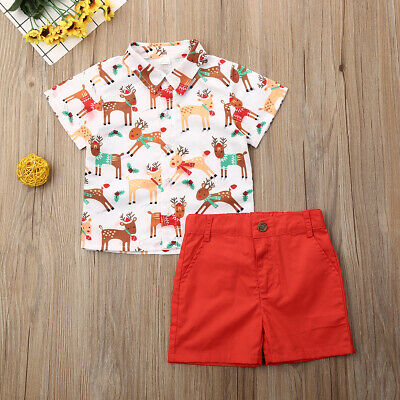 AU Christmas Toddler Kid Baby Boy Gentleman Clothes Top Shirt Shorts Xmas Outfit