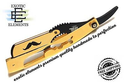 Straight Edge Stainless Steel Barber Razor Folding Shaving Blade GOLD AND BLACK