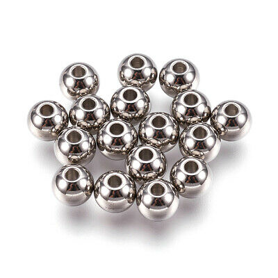 100x 304 Stainless Steel Metal Beads Smooth Round Tiny Spacers 3mm 4mm 6mm 8mm