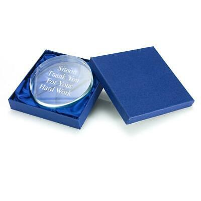 Personalised Glass Round Paperweight in Presentation Box - Custom Engraved
