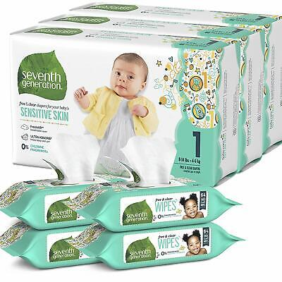 Seventh Generation Size 1 Diapers and Wipes Box - 120 Diapers and 256 Wipes
