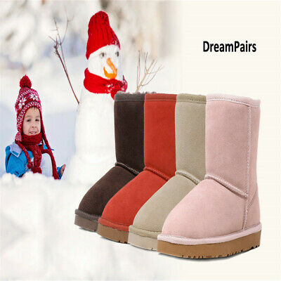 DREAM PAIRS NEW Kids/Girls Classic Mid Snow Boots Winter Flat Shoes Faux Fur