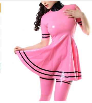 Latex 100% Rubber Sexy Dress Gummi Skirt Uniform Set Kostüm Rosa Kleid S-XXL