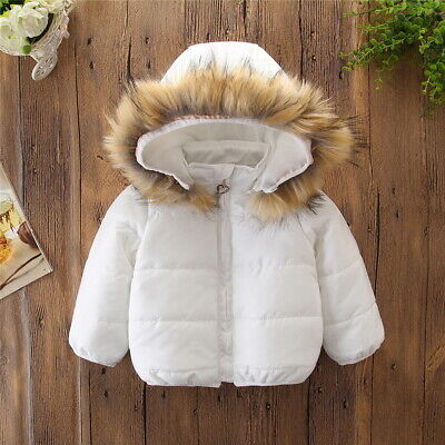Kids Baby Girls Boys Padded Quilted Coat Winter Warm Fur Hooded Jacket Parka