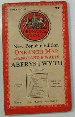 1947 Old OS Ordnance Survey One-Inch New Popular Edition Map 127 Aberystwyth