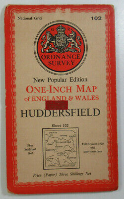 1947 Old OS Ordnance Survey New Popular Edition One-Inch Map 102 Huddersfield