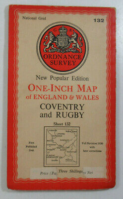 1946 Old OS Ordnance Survey One-Inch New Popular Edition Map 132 Coventry Rugby