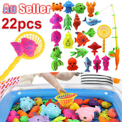 22Pcs Game Toy Fish Educational Fishing Rod Model Baby Kids Magnetic