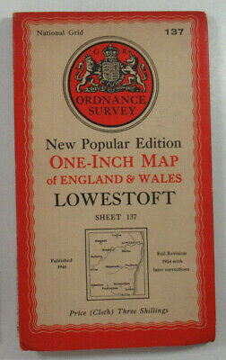 1947 Old OS Ordnance Survey One-Inch New Popular Edition Map 137 Lowestoft