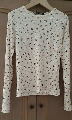 brandy melville cream red floral cotton crop v neck self tie Rae Wrap Top NWT  S