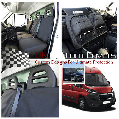 Fiat Ducato 2019+ Front Seat Covers (Single+Double) & Screen Wrap Black 373 235
